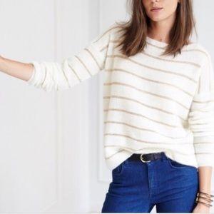 Sezane Gold Stripe Scoop Neck Long Sleeve Sweater